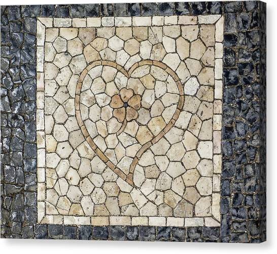 Heart Shaped Traditional Portuguese Pavement Canvas Print