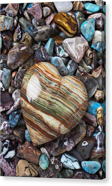 Rock Canvas Print - Heart Stone by Garry Gay