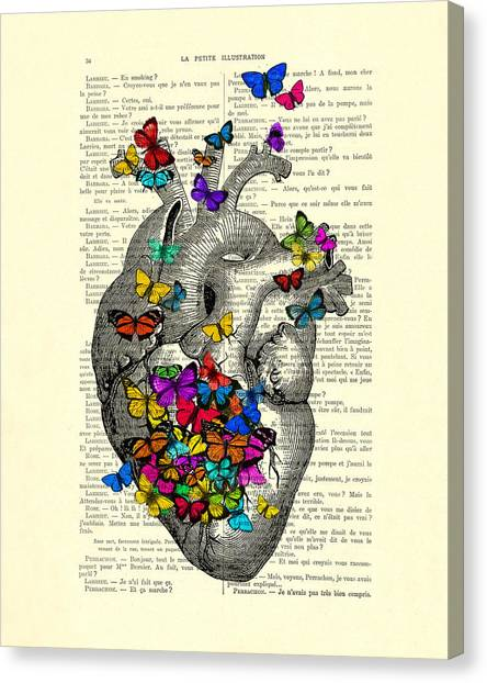 Wedding Gift Canvas Print - Heart With Rainbow Butterflies by Madame Memento