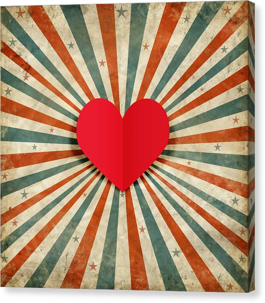 Cupid Canvas Print - Heart With Ray Background by Setsiri Silapasuwanchai