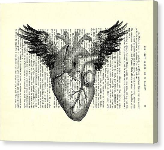 Winged Canvas Print - Heart With Wings In Black And White by Madame Memento