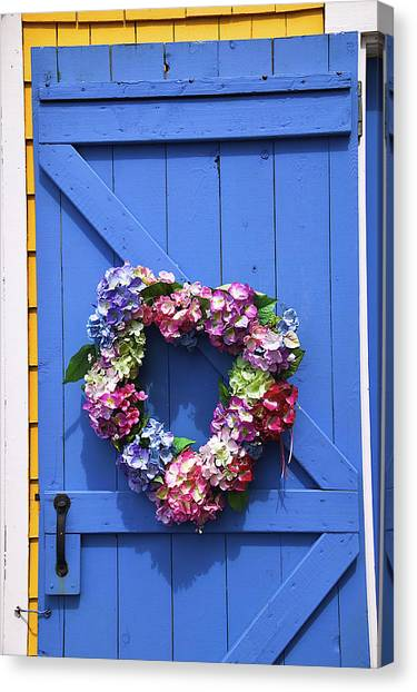 Wreath Canvas Print - Heart Wreath On Blue Door by Garry Gay
