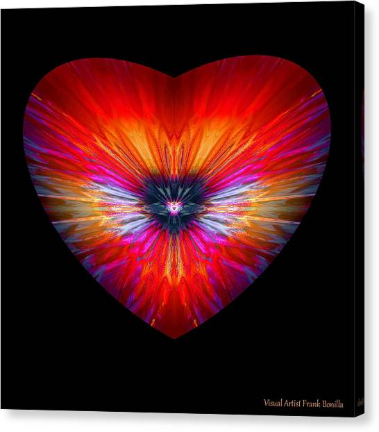 Canvas Print featuring the digital art Hearts #26 by Visual Artist Frank Bonilla