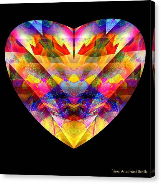 Canvas Print featuring the digital art Hearts #27 by Visual Artist Frank Bonilla