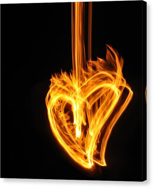 Hearts Aflame -falling In Love Canvas Print