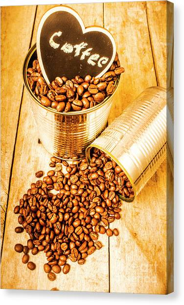 Caffeine Canvas Print - Hearts And Cafe Beans by Jorgo Photography - Wall Art Gallery