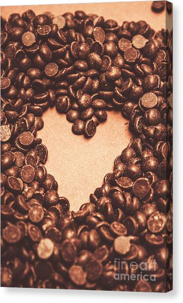 Heart Shape Canvas Print - Hearts And Chocolate Drops. Valentines Background by Jorgo Photography - Wall Art Gallery