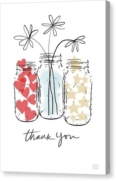 Mason Jar Canvas Print - Hearts And Stars Thank You- Art By Linda Woods by Linda Woods