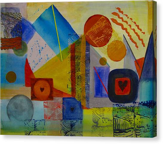 Hearts In The City Canvas Print by Pat Stacy