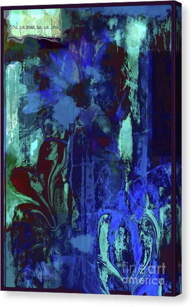 Red Heart- Blue Flowers Canvas Print