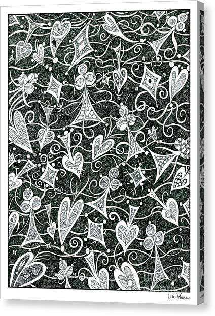 Hearts, Spades, Diamonds And Clubs In Black Canvas Print