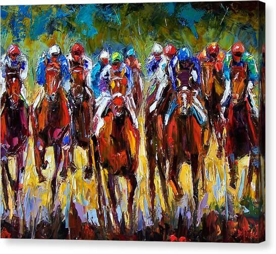 Kentucky Derby Canvas Print - Heated Race by Debra Hurd