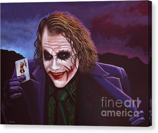 Knights Canvas Print - Heath Ledger As The Joker Painting by Paul Meijering
