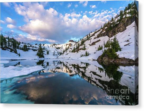 Table Mountain Canvas Print - Heather Meadows Blue Ice Reflection Cloudscape by Mike Reid
