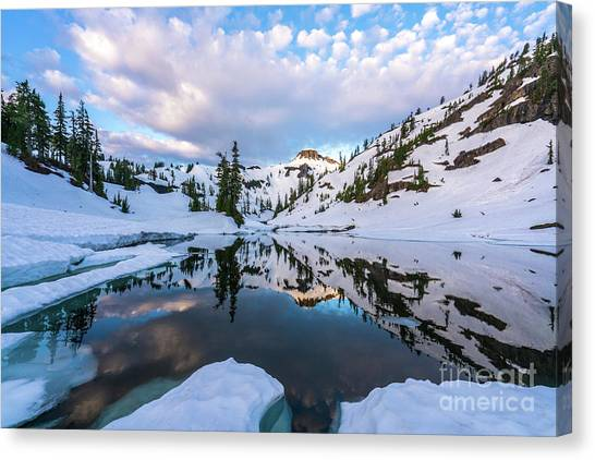 Table Mountain Canvas Print - Heather Meadows Reflection Cloudscape by Mike Reid