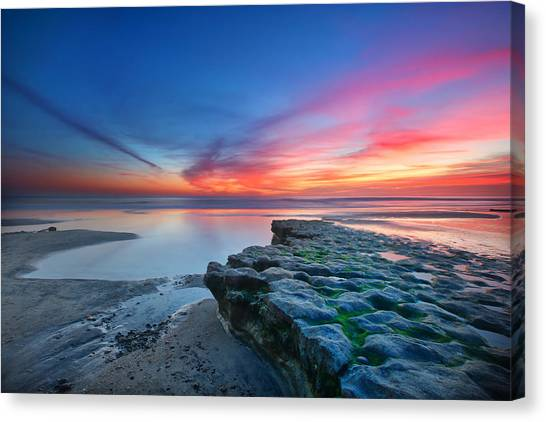 Beach Sunsets Canvas Print - Heaven And Earth by Larry Marshall