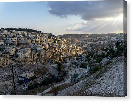 Heaven Shines On The City Of David Canvas Print
