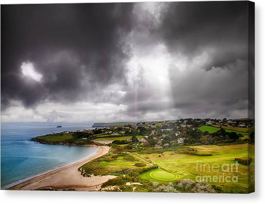 Rainclouds Canvas Print - Heavenly Light On Golf Course by Simon Bratt Photography LRPS