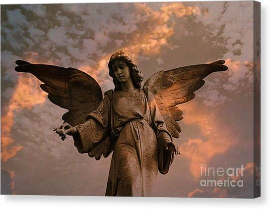 Angel Art By Kathy Fornal Canvas Print - Heavenly Spiritual Angel Wings Sunset Sky  by Kathy Fornal