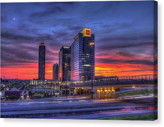 Emory University Canvas Print - Heavens Ablaze Atlantic Station Banking by Reid Callaway