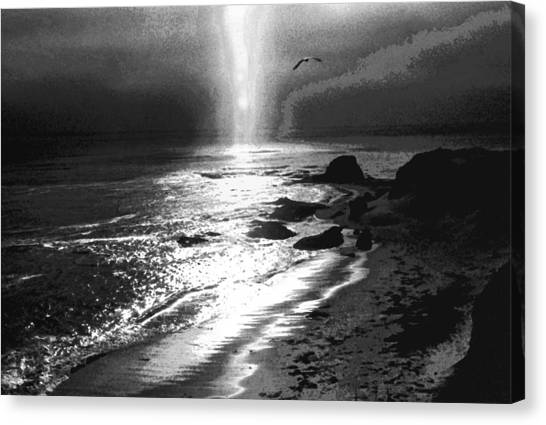 Heavens Light Black And White Canvas Print