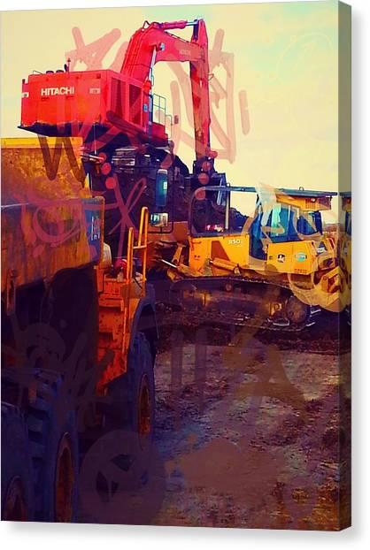 Excavators Canvas Print - Heavy Equipment Graffiti by Jesse Werbicki