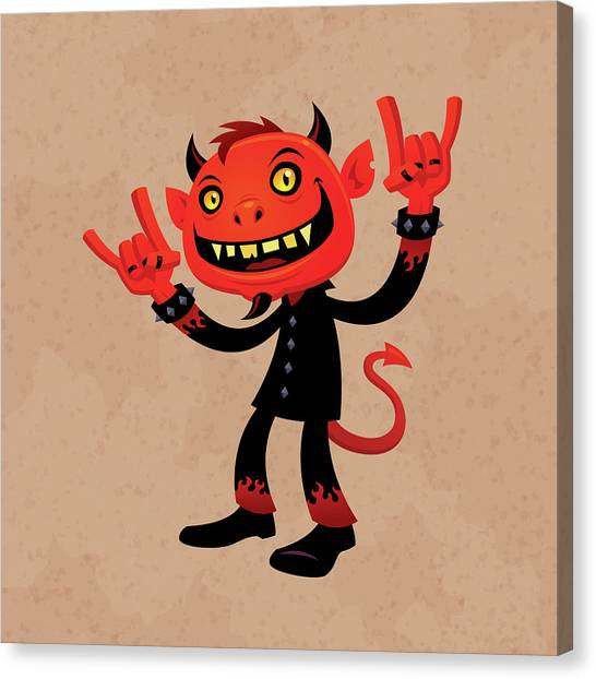 Rock Music Canvas Print - Heavy Metal Devil by John Schwegel