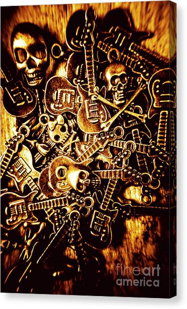 Bass Guitars Canvas Print - Heavy Metal Mix by Jorgo Photography - Wall Art Gallery