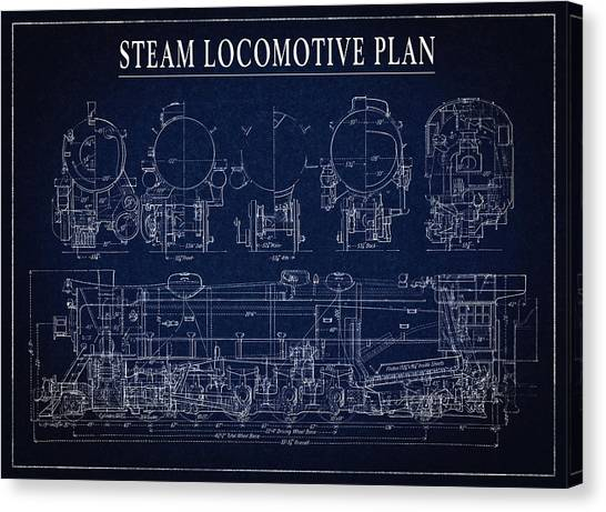Train Conductor Canvas Print - Heavy Steam Locomotive Blueprint by Daniel Hagerman