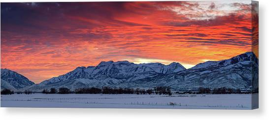 Heber Valley Panoramic Winter Sunset. Canvas Print