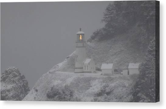 Heceta Lighthouse Snowstorm Canvas Print