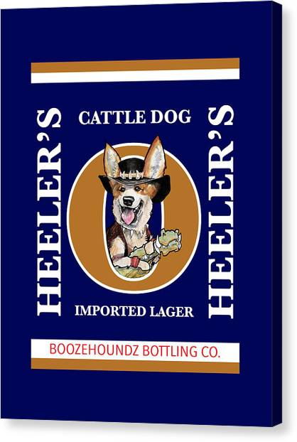 Craft Beer Canvas Print - Heeler's Cattle Dog Imported Lager by John LaFree