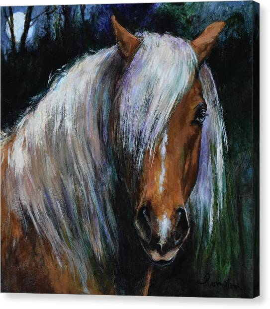 Draft Horses Canvas Print - Heimdall By Moonlight by Tracie Thompson