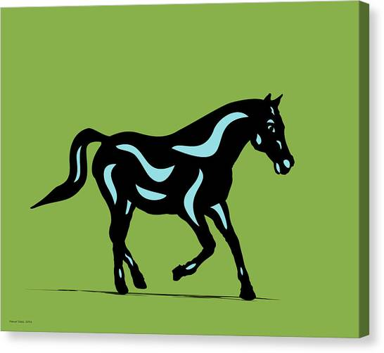 Heinrich - Pop Art Horse - Black, Island Paradise Blue, Greenery Canvas Print