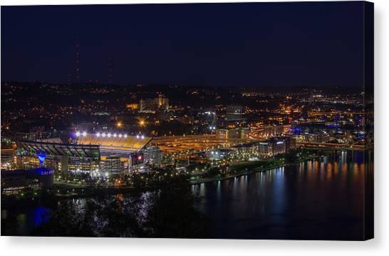Heinz Field At Night From Mt Washington Canvas Print