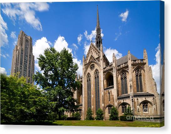 Oakland University Canvas Print - Heinz Memorial Chapel And Cathedral Of Learning by Amy Cicconi