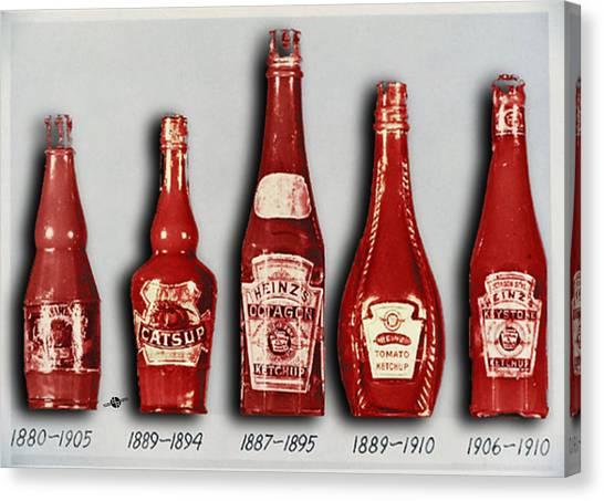 Ketchup Canvas Print - Heinz Tomato Ketchup Vintage, Evolution To 1910 by Tony Rubino