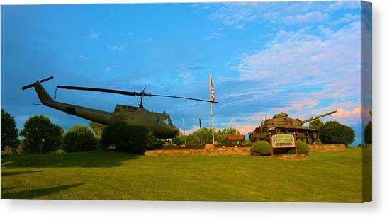 Blue Camo Canvas Print - Helicopter And Tank by Richard Jenkins