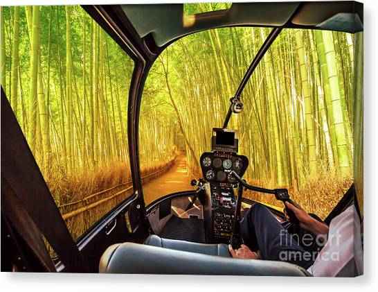 Sagano Bamboo Forest Canvas Print - Helicopter In Arashiyama Bamboo Grove by Benny Marty