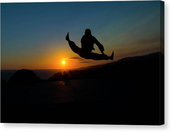 Taekwondo Canvas Print - Helicopter Kick by Henry Binerfa