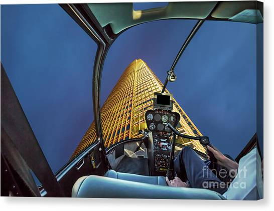 Helicopter On Skyscaper Facade Canvas Print