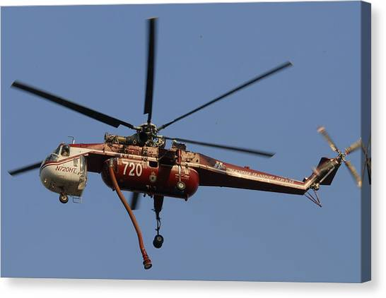 Skycrane Canvas Print - Helicopter Transport Services Sikorsky Ch54b Skycrane N720ht Tanker 72 by Brian Lockett