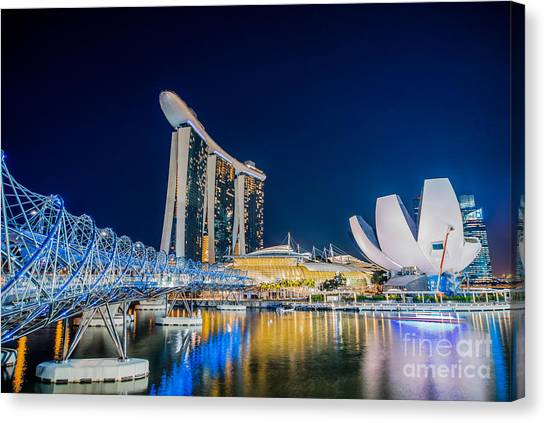 Singapore Skyline Canvas Print - Helix Bridge by Delphimages Photo Creations
