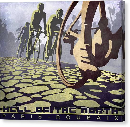 Canvas Print featuring the painting Hell Of The North Retro Cycling Illustration Poster by Sassan Filsoof