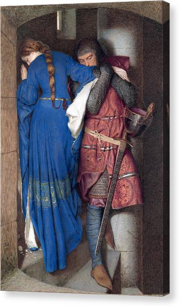 Canvas Print featuring the drawing Hellelil And Hildebrand Or The Meeting On The Turret Stairs by Frederic William Burton