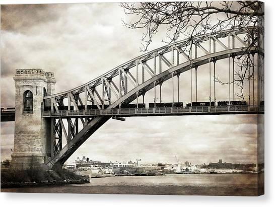 Hellgate Bridge In Sepia Canvas Print