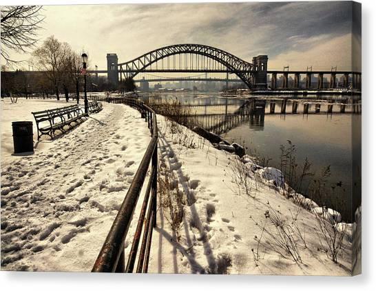 Hellgate Bridge In Winter Canvas Print