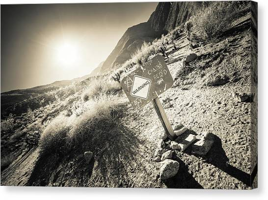 Canvas Print featuring the photograph Hellhole Canyon Warning by T Brian Jones