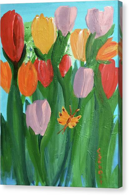 Hello Spring Tulips Canvas Print