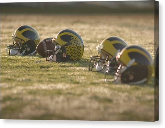 Canvas Print featuring the photograph Helmets In Golden Dawn Sunlight by Michigan Helmet